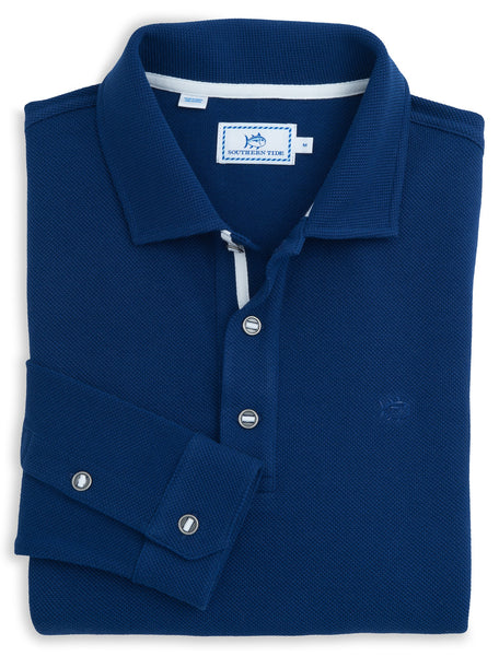Long Sleeve Outdoor Polo in Blue Depths