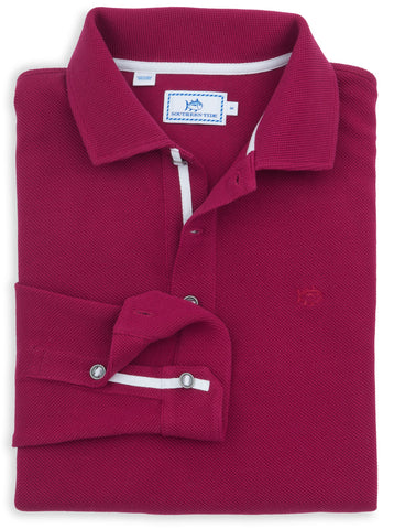 Long Sleeve Outdoor Polo in Pomegranate