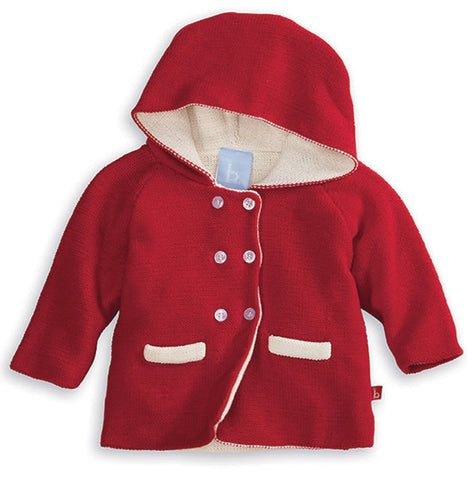 Bella Bliss Hooded Baby Cardigan in Red