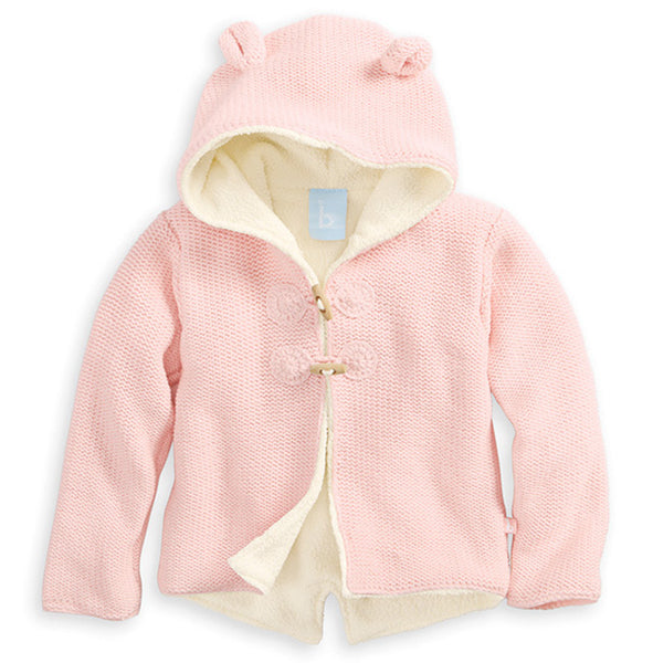 Bella Bliss Lined Cardigan with Ears in Pink