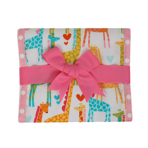 3 Marthas Giraffe Fancy Burp Pad in Pink