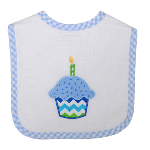 3 Marthas Birthday Cupcake Bib in Blue