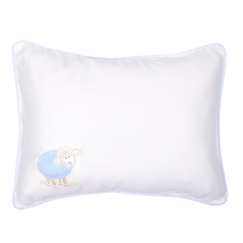 3 Marthas Little Lambs Baby Pillow w/Blue Detail