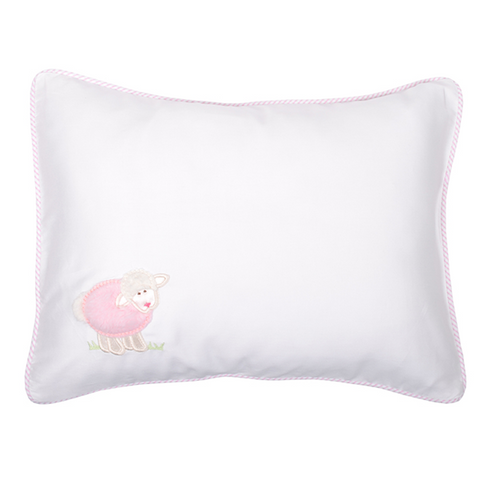 3 Marthas Little Lambs Baby Pillow with Pink Detail