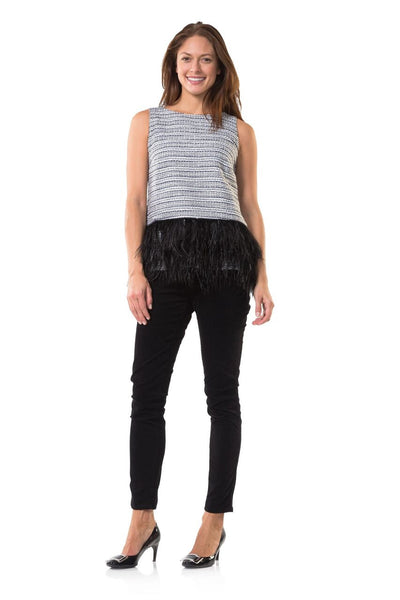 Sail to Sable Metallic Tweed Top with Feathers