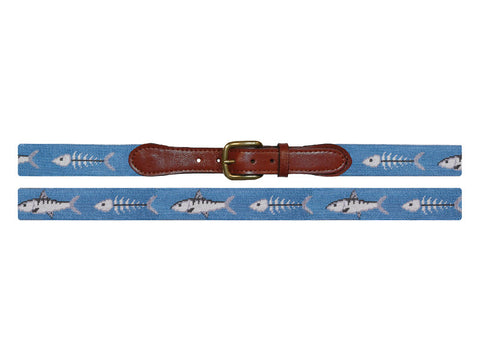 Smathers & Branson Bonefish Needlepoint Belt in Stream Blue