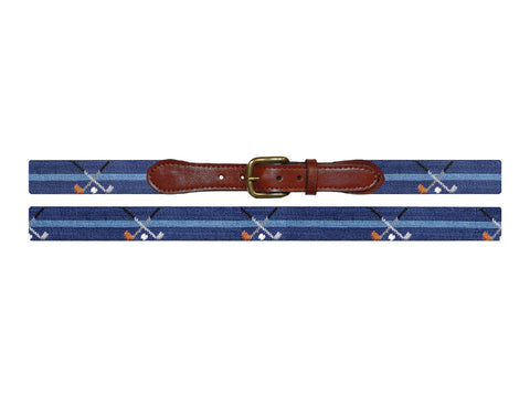 Smathers & Branson Crossed Clubs Needlepoint Belt in Navy