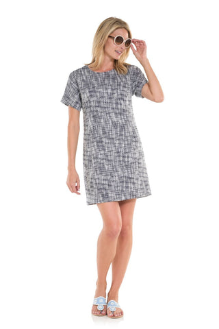Sail to Sable A Trip in Tweed Dress in Navy
