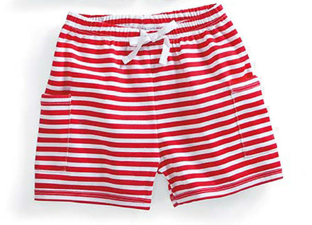 Bella Bliss Boy Pima Pocket Striped Short in Red