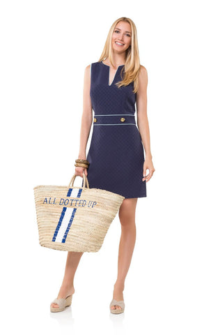 Sail to Sable Dot Jacquard Belted Shift Dress in Navy/Mint