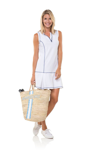 Sail to Sable UPF 50 Boxpleat Dress in White