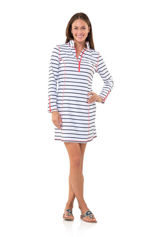 Sail to Sable Striped UPF 50 Zip Front Tunic Dress in White/Navy