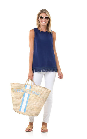 Sail to Sable Cotton Fringe Sleeveless Sweater in Navy