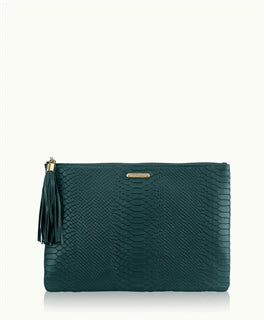 Uber Clutch w/Slip Pocket in Spruce Embossed Python