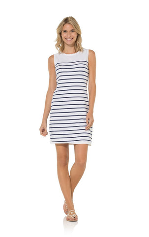 Sail To Sable Cotton Sweater Sleeveless Shift Dress in White Stripe
