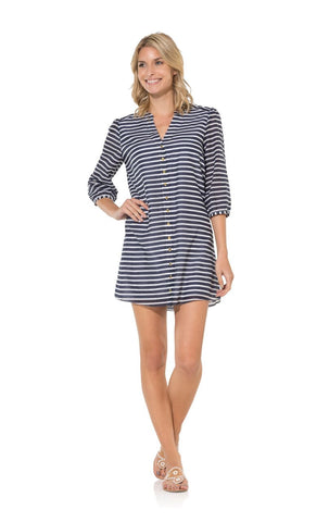 Sail To Sable Silk Cotton Dress in Navy Stripe