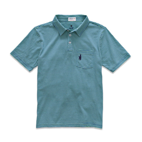 Johnnie-O Wilshire Jr. Polo in Bright Mint/Riptide