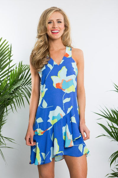 Crosby Maddie Tropical Floral Dress in Peri/Aqua