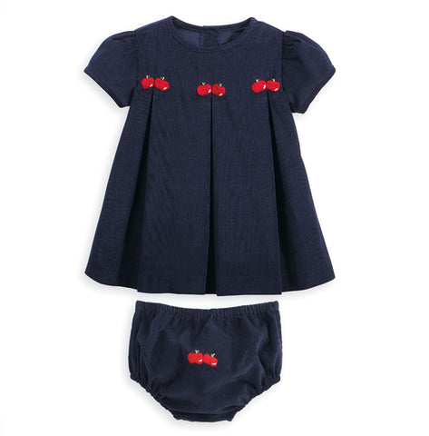 Bella Bliss Corduroy Apple Embroidery Dress in Navy