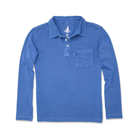 Johnnie-O Carbon Jr. Long Sleeve Polo in Laguna Blue