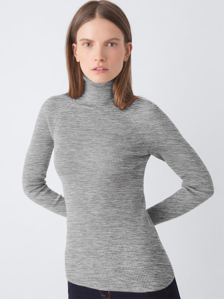 525 america Ribbed Turtleneck Sweater in Heather Grey
