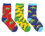 Socksmith Dino-Mite 3-Pack Socks in Blue/Yellow/Red