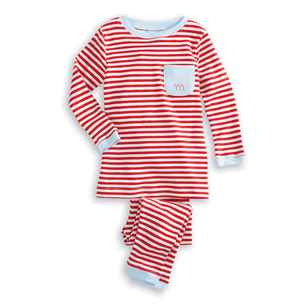 Bella Bliss Striped Candy Cane Embroidered Pajamas in Red