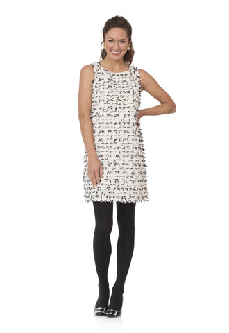 Sail to Sable Sleeveless Dress w/Black and White Bows in Cream