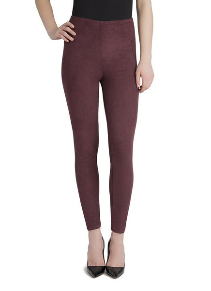 Lysse Hi Waist Suede Legging in Currant