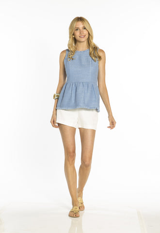 Sail to Sable Tweed Sleeveless Top in Hydrangea
