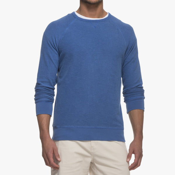 Johnnie-O Mason Terry Reversible Crew Neck Sweatshirt in Tide