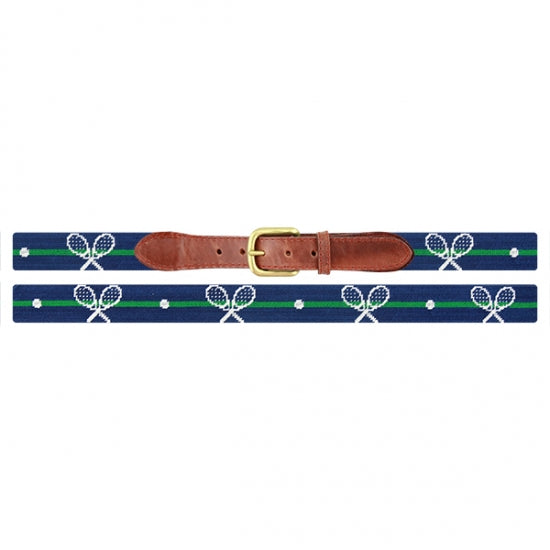 Smathers & Branson Crossed Racquets Needlepoint Belt in Classic Navy