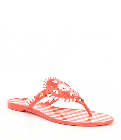 Jack Rogers Striped Georgica Jelly in Geranium/White