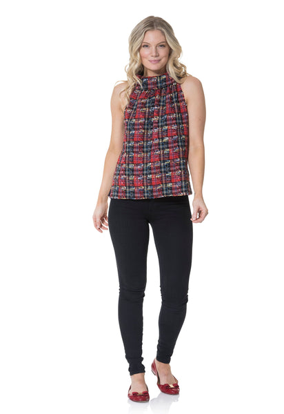 Sail to Sable Cowl Neck Top in Red Plaid
