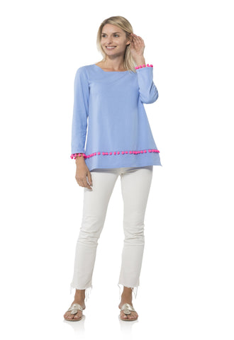 Sail to Sable 3/4 Sleeve Pom Pom Tunic Top in Hydrangea
