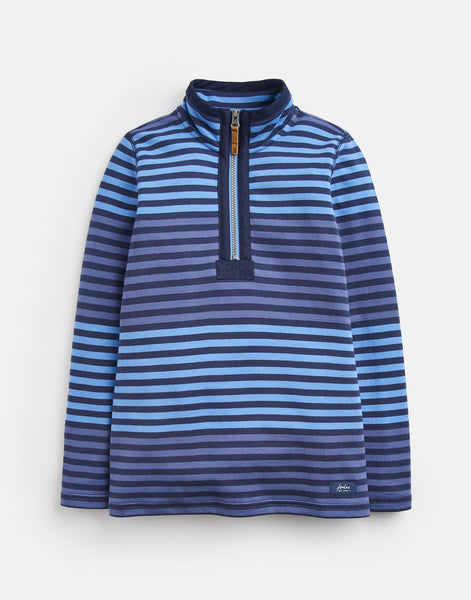 Joules Dale Half Zip Sweatshirt in Navy Blue Stripe