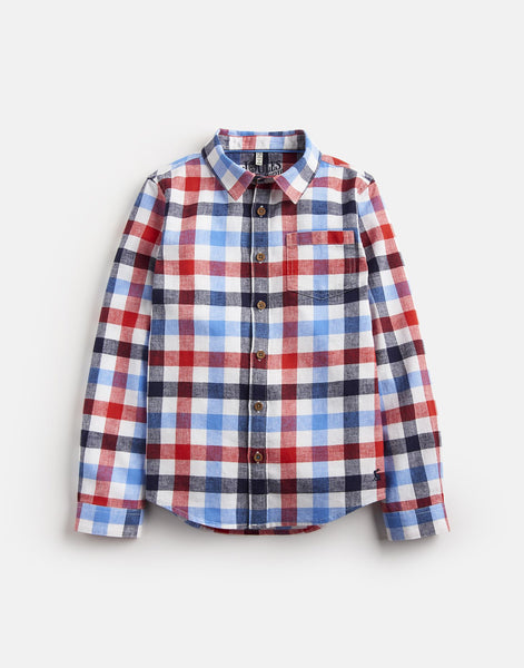 Joules Sark Long Sleeve Boys Button-Down Shirt in Red Check