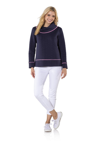 Sail to Sable Textured Knit Long Sleeve Pullover in Navy