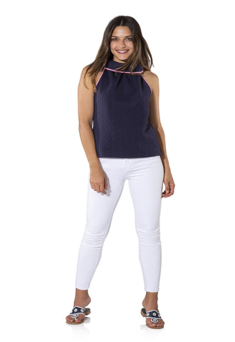 Sail to Sable Textured Knit Cowl Neck Sleeveless Top in Navy