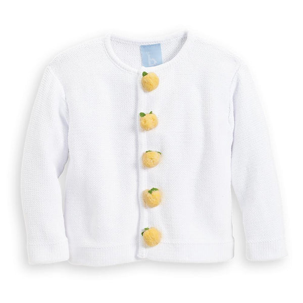 Bella Bliss Pom Pom Lemon Cardigan in White