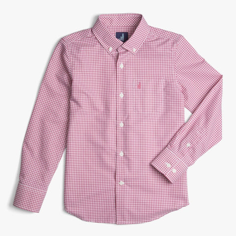 Johnnie-O Augusta Boys Button Down Shirt in Scarlet