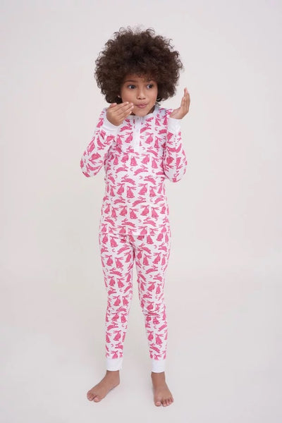 Roller Rabbit Kids Batik Bunny Pajama Set in Pink