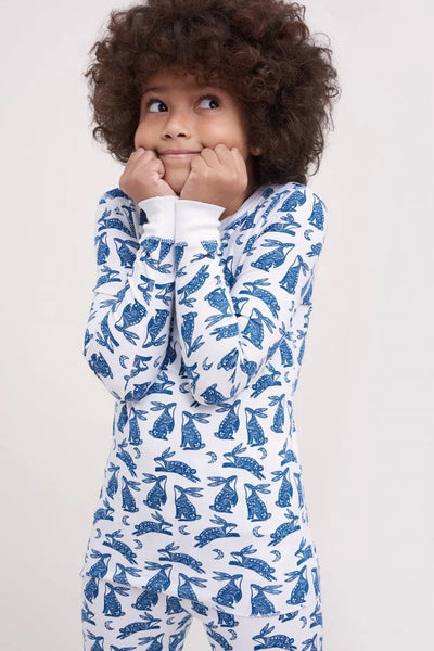 Roller Rabbit Kids Batik Bunny Pajama Set in Blue