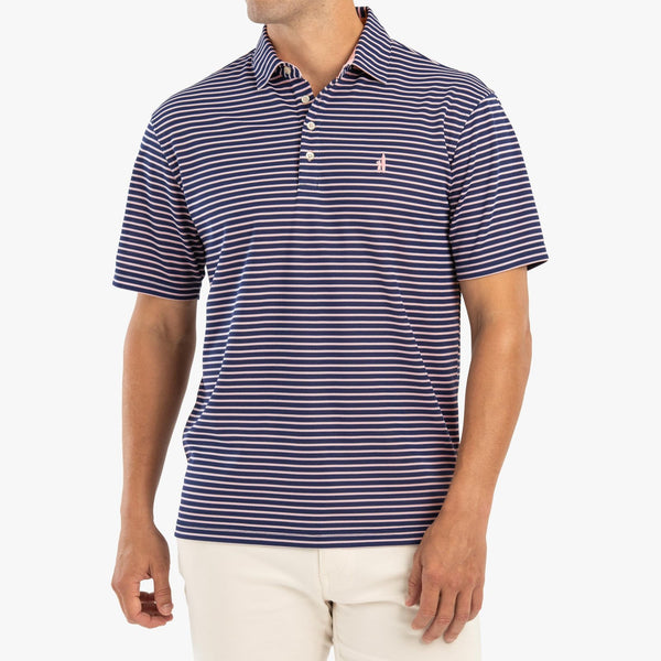 Johnnie-O Linus Prep-Formance Striped Polo in Twilight