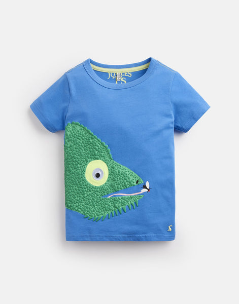 Joules Boys Archie Applique T-Shirt in Blue Chameleon