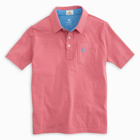 Johnnie-O Boys Cliffs Polo in Coral Reefer