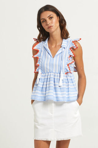 Marie Oliver Becca Top in Blue Stripe