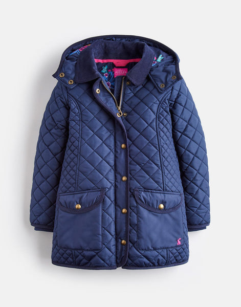 Joules Newdale Quilted Coat in French Navy