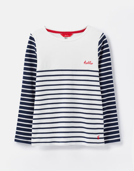 Joules Harbour Luxe Embellished Jersey Top in Navy Stripe