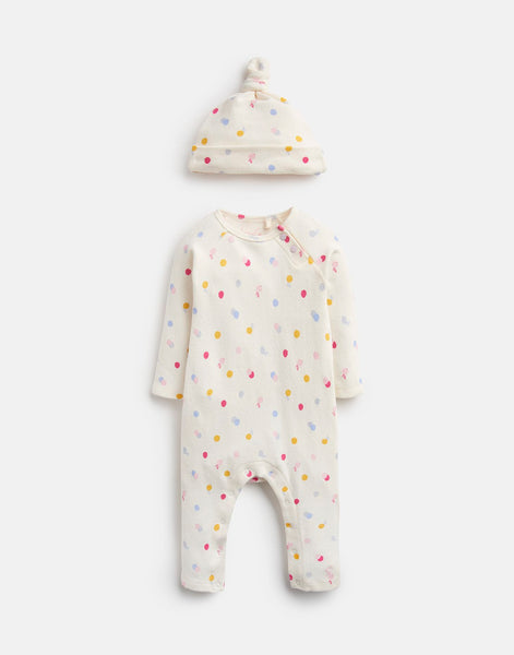 Joules Giggle Supersoft Babygrow Set in Cream Spot Mouse